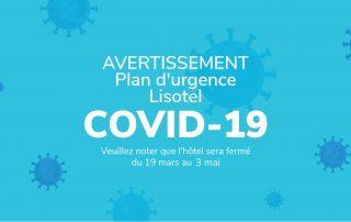 Avertissement - Plan d'urgence COVID-19